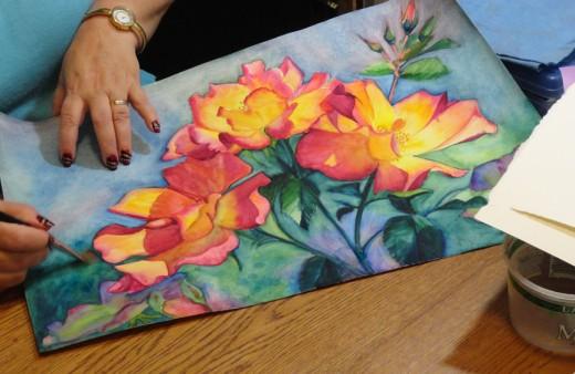 Me painting my Tea Roses in Watercolor