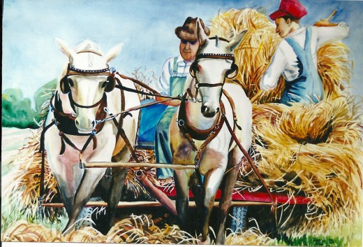 """In the """"Hay Harvest"""" painting (above), I used a number of colors for the hay, including pink, blue, green, yellow ochre and brown."""
