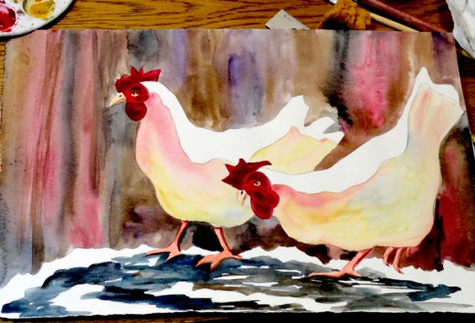 Quick painting of chickens.