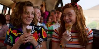 """Tomboy Maxine """"Max"""" Mayfield (Sadie Sink) bonds with sheltered telekinetic wonder girl Jane """"Eleven"""" Hopper (Millie Bobby Brown) as she teaches her how to be a young girl in Season Three of """"Stranger Things""""."""