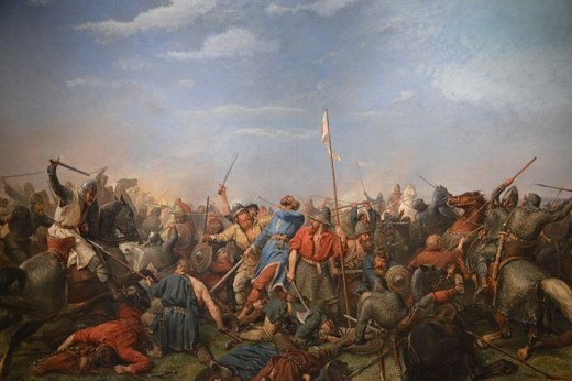 The Battle of Stamford Bridge. Oil on canvas 1870: Nordnorsk Kunstmuseum.