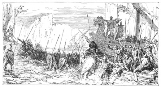 Norman Landing.  Engraving 1885: Artist Unknown.