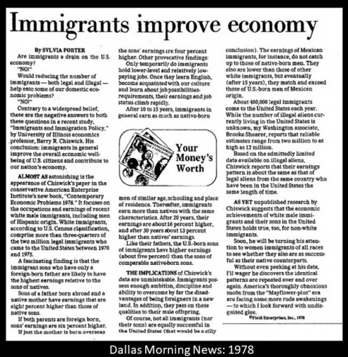 Dallas Morning News, 1978- immigrants welcome