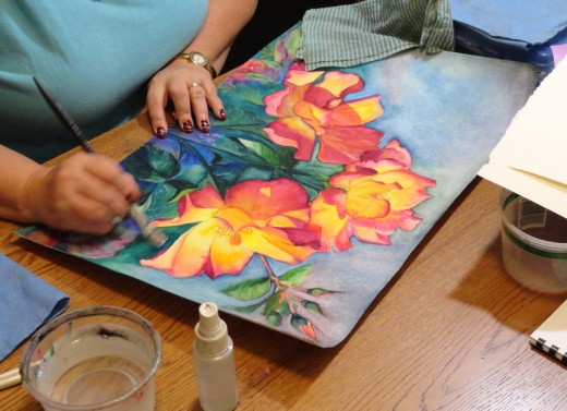Painting my Tea Roses