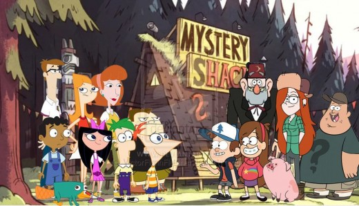 Phineas and Ferb on the Left and Gravity Falls on the Right
