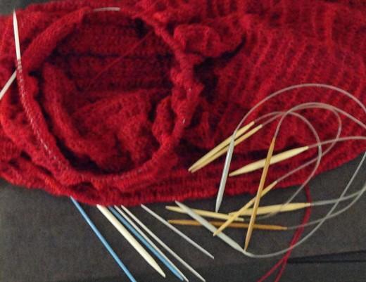 My knitting and circular needles