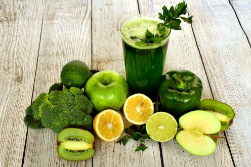 Vegetable juice and fruit smoothie.
