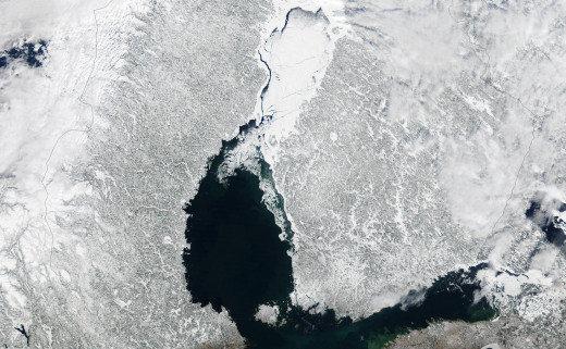 This satellite image, taken in March 2002, shows how the upper Gulf of Bothnia freezes over in winter.