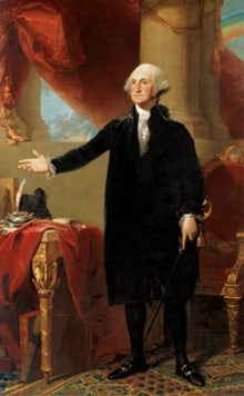 On his last day in office in the book, Washington wears his black velvet suit.