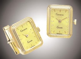Quality gold cufflinks with Geneve watches built in... a bargain at $1,500!