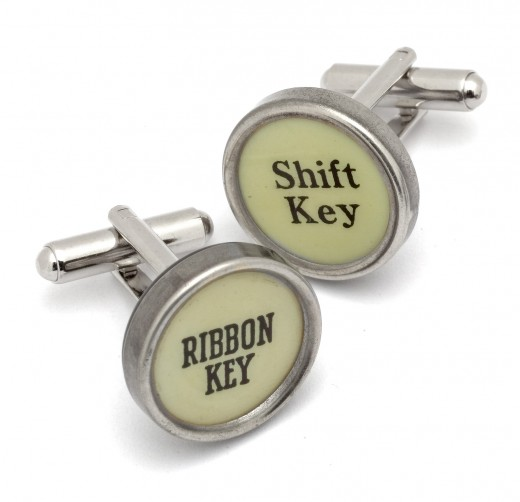 Typewriter keys were very popular items to make vintage cufflinks from!