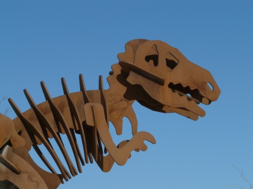 A right profile head shot of a cardboard constructed T-Rex.