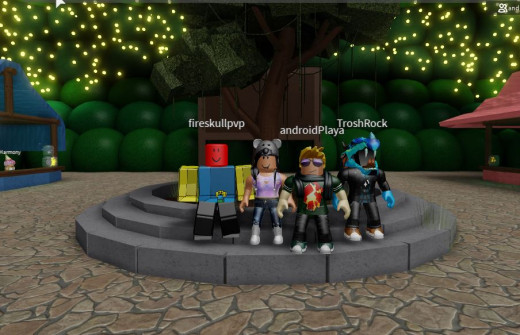 My avatar and friends on the game I made on Roblox