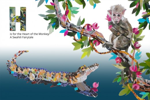 H is for The Heart Of The Monkey, from The FairyTale Alphabet Book by Denise McGill