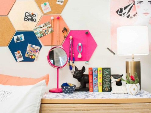 Decorate your dorm room with accessories that express your personality.