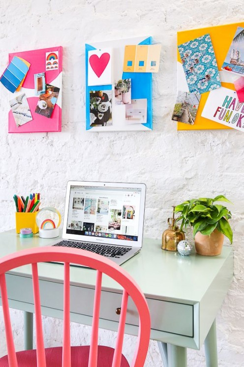 Create several colorful pinboards for easy and cheap wall decor.