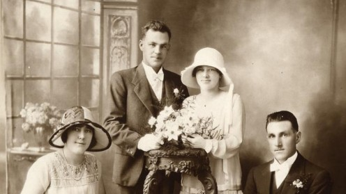 An early photo of a new marriage at home
