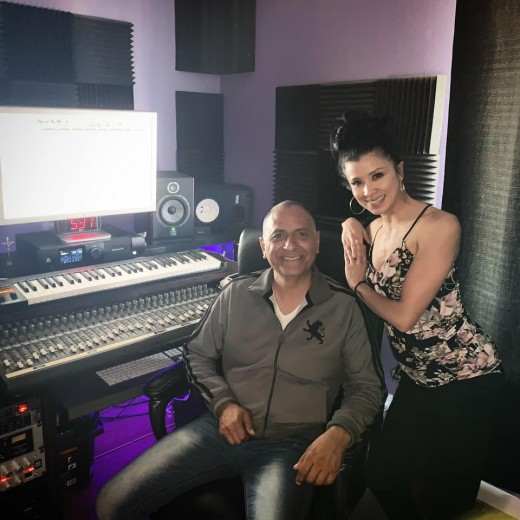 Brittany with Music Producer, Carlos Guillen of La Cima Music.