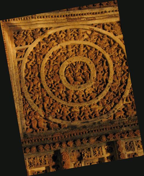 "Lighted up ""Rasmandala"" on the western face of Shyam-Rai temple."