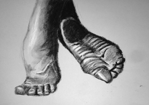 Exercise in drawing feet