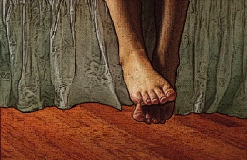 She lowered her throbbing legs down, down, down, until her feet finally touched the hardwood floor. It was icy cold. It felt good.