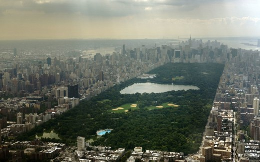 Aerial view of Central Park looking south--surrounded by some of the world's priciest real estate
