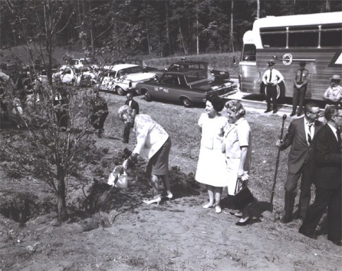 "Lady B.Johnson & an unident. woman look on as M.Humphrey, wife of VP H.Humphrey shovels dirt around a dogwood tree planted along I-95 in Virginia, during her ""Landscape-Landmark Tour"" into Virginia on May 11, 1965. US Dept. of Transp.,FHA, pub.domain"