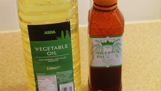 Vegetable oil and palm oil. Palm oil add the colour and contribute to the taste of this dish