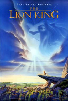 The movie poster for The Lion King (1994).