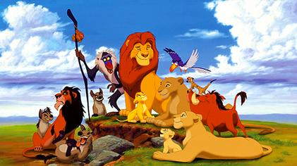 A promotional image of The Lion King's characters for The Lion King ((1994).