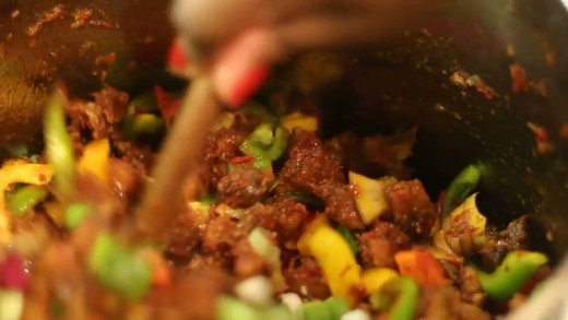 Add the gizzard and plantain into the stew first. The vegetable mix is added at the end to keep it crunchy and juicy.