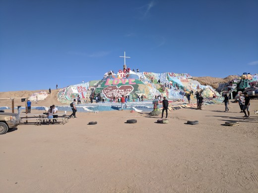 View of Salvation Mountain built by Leonard Knight in the desert