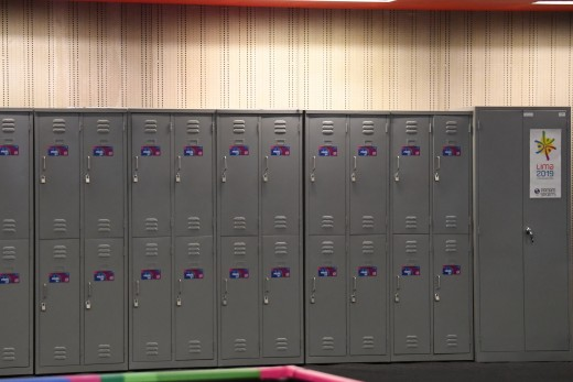 Lockers for the press.