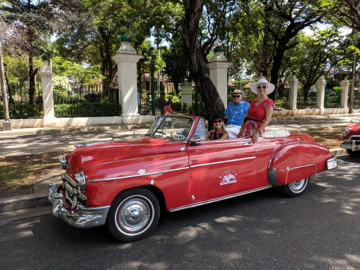 Cold War embargo on U.S. trade with Castro regime stopped flow of cars & parts.  With my wife and daughter in old Chevrolet convertible.Owners allowed by regime to  keep cars have maintained them and now earn living giving tours of Old Havana in them
