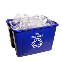 The blue recycling bin is a common symbol in public places.