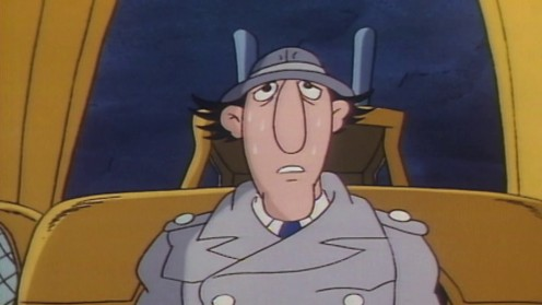 Inspector Gadget is seen here in a dry riverbed as he is sweating because it is so hot.