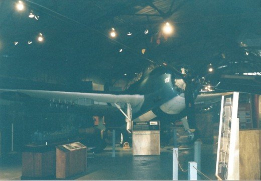 A dive bomber inside the Marine Air-Ground Museum