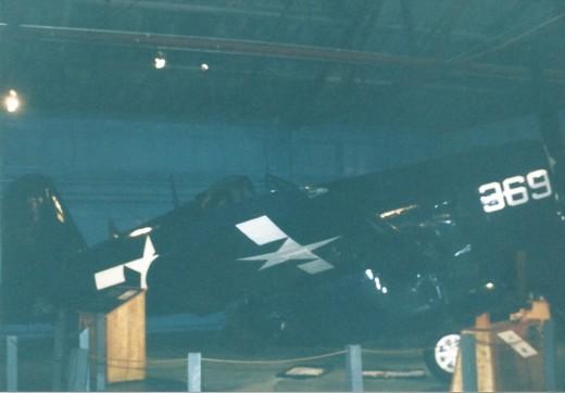 An F4U Corsair inside the Marine Air-Ground Museum