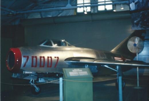 A Soviet made MiG-15 inside the Marine Air-Ground Museum.