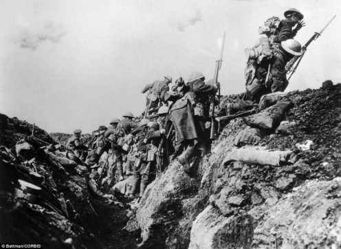 British troops going over the top of the trenches into no man's land to meet their death on the Western Front 1914-18.