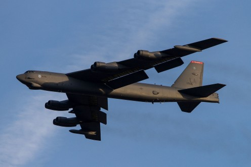 A B-52 taking off from Tinker Air Force Base.