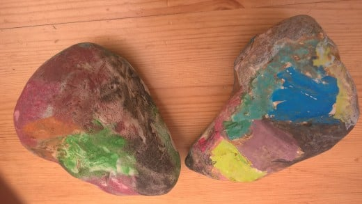A visit to the beach was followed by stone painting.