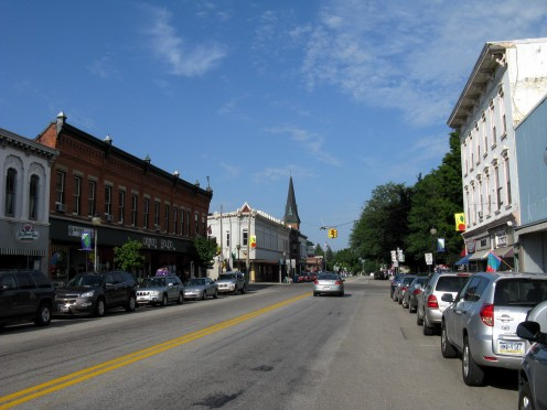 Looking West down the Main street of North East, PA. This area is listed on the National Register of Historic Places.