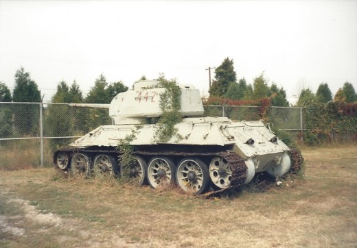 A Soviet made T-34 on outside storage at Quantico, 1990.