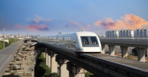 Shanghai, China's maglev train whisks traveller to and from the airport at a maximum speed of 268 mph (431 km/h), making a 18.6 mile (30 km) journey in only 7 to 8 minutes.