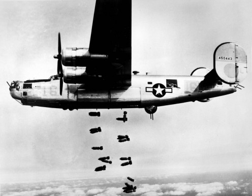 The B-24 Liberator doing what it is made for dealing death from above.