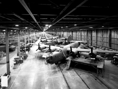 B-24s under construction at Ford Motor's Willow Run plant during the war.