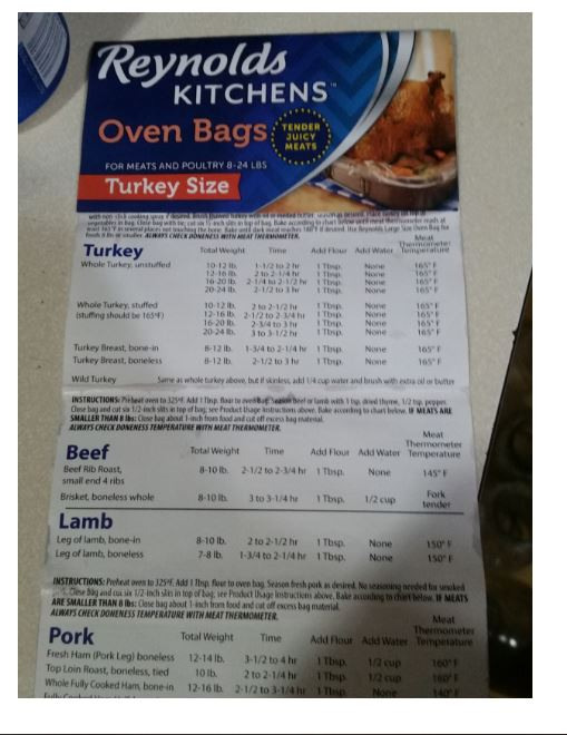 The cooking ingredients are listed on the insert in the box, and are listed on the box.