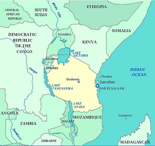 A map of the East Coast of Afirca
