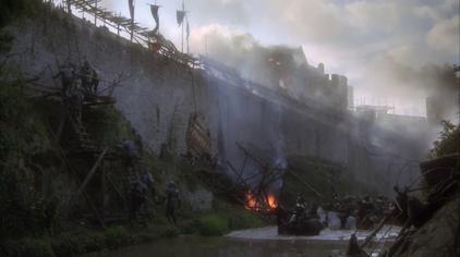 Castle siege scene.